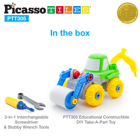Image of PicassoTiles PTT305 2-in-1 Educational Constructible Take-A-Part Toy