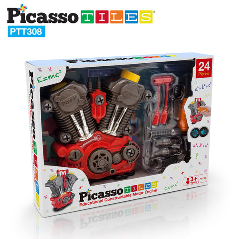 PicassoTiles Take-A-Part Engine Motor 24pc Set PTT308