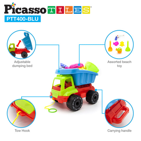 Image of PicassoTiles® PTT400 Sand Truck Car Beach Combo Set
