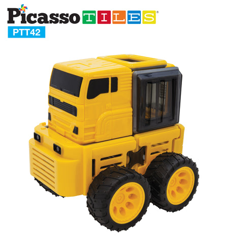 Image of PicassoTiles® PTT42 Truck Theme 3D Color Magnetic Building Block 42 Pcs Set