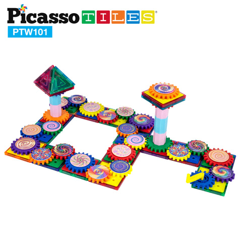 Image of PicassoTiles 101 Piece Illusionist Spinning Magnetic Building Block Gear Set