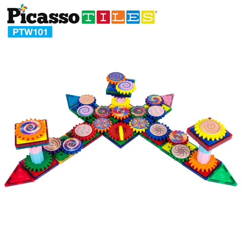 Image of PicassoTiles 101 Piece Illusionist Spinning Magnetic Building Block Gear Set PTW101