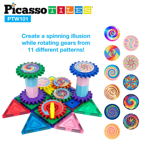 PicassoTiles 101 Piece Illusionist Spinning Magnetic Building Block Gear Set PTW101