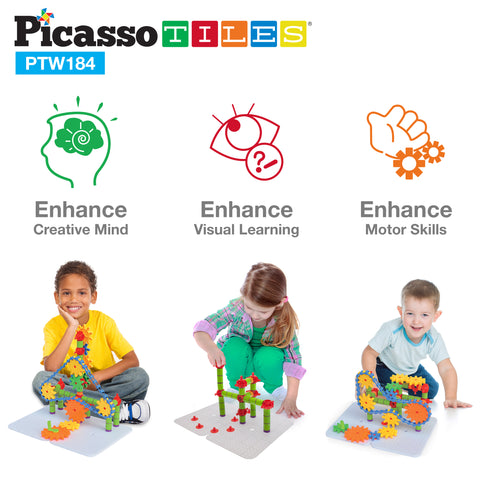 PicassoTiles® PTW184 Interlocking Wheel/Gear STEM Building Block Set