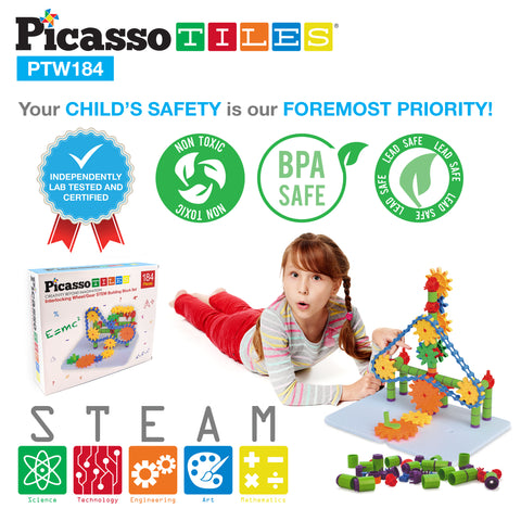 Image of PicassoTiles® PTW184 Interlocking Wheel/Gear STEM Building Block Set