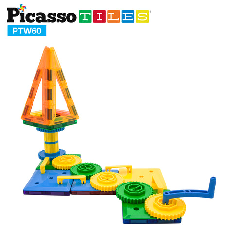 PicassoTiles® PTW60 60 Piece Magnetic Wheel/Gear STEM Building Block Set