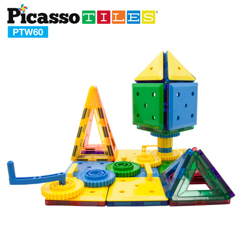 Image of PicassoTiles® PTW60 60 Piece Magnetic Wheel/Gear STEM Building Block Set