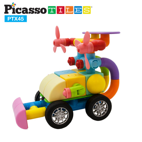 Image of PicassoTiles 45pc Magnetic Building Block Set PTX45