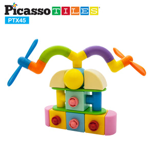 PicassoTiles 45pc Magnetic Building Block Set PTX45