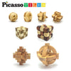 PicassoTiles 8 Styles Wooden Burr Cube, Ball and Barrels Logic Puzzle