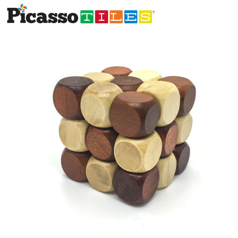 PicassoTiles 8 Styles Wooden Burr Cube, Ball and Barrels Logic Puzzle PTP08