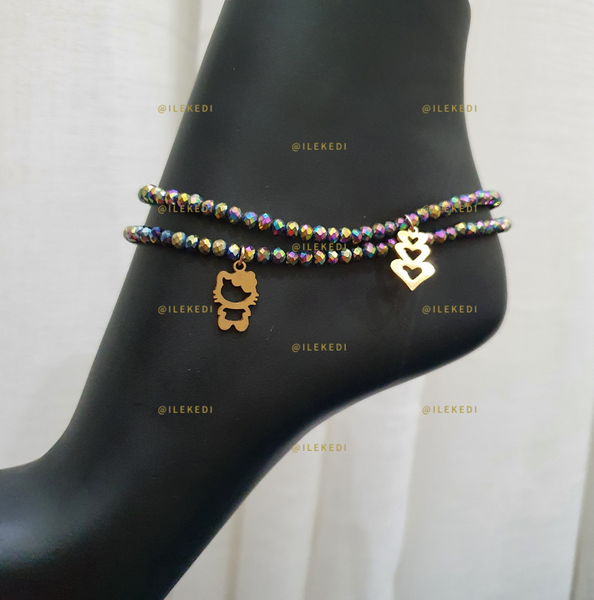 Double Rainbow Ajoke Anklet with Pendants