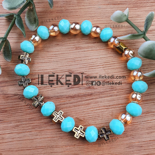 Mint Crystal with Gold Crosses Bracelet