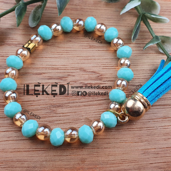 Mint Crystal with Tassel Bracelet