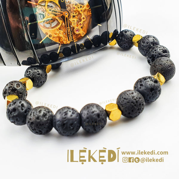 Black Lava with Gold Adunni Midi Bracelet