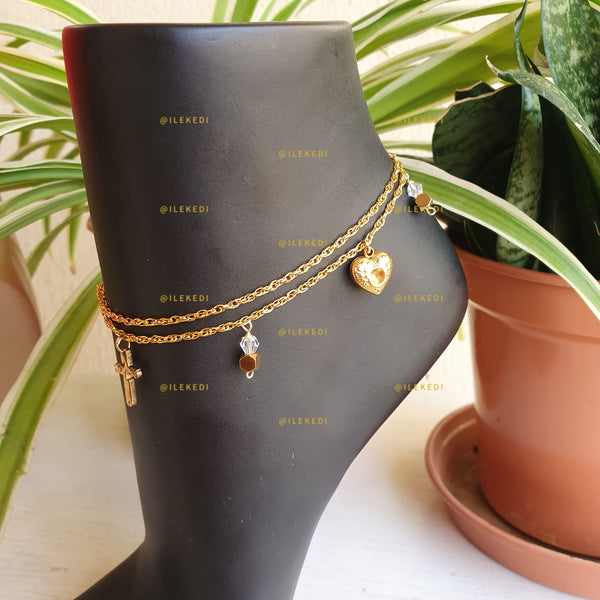 Sumbo: Double Chain Anklet with Pendants/Charms