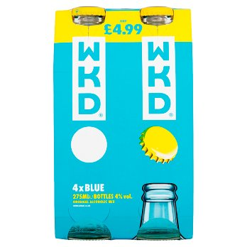 WKD Blue Alcoholic Ready to Drink Multipack 4 x 275ml