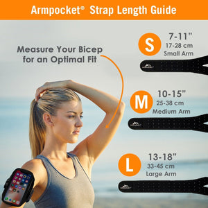 Armpocket Racer Edge Strap Size Guide