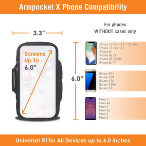 Armpocket X for iPhone 12/12 Pro/11/11 Pro/X/XS Galaxy S10/S20 and other bezel-less phones - SAVE 10%