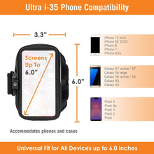 "Load image into Gallery viewer, New! Ultra i-35 Smartphone Fits Screens Up to 6"" Armband for iPhone for iPhone 12 mini/SE 2020, Galaxy S7/S6, Google Pixel 4a & more"
