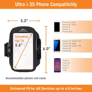 "Clearance - Ultra i-35 Smartphone Armband for iPhone 6, Galaxy S6,  & more Fits Screens Up To 5.5"" Old 2 Port Design - SAVE 50%"