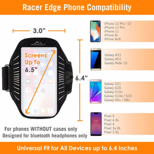 Armpocket Racer Edge full-screen, thin armband for iPhone 12/11/Xs/X/XR Galaxy S21/S20/S20+S10 Pixel 5/4 XL