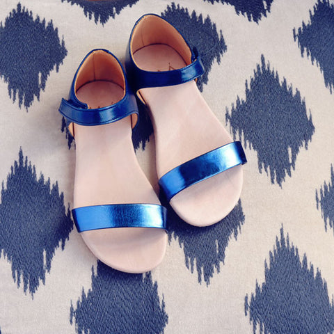 MAÁ Girls Metalic Blue and Navy Sandal