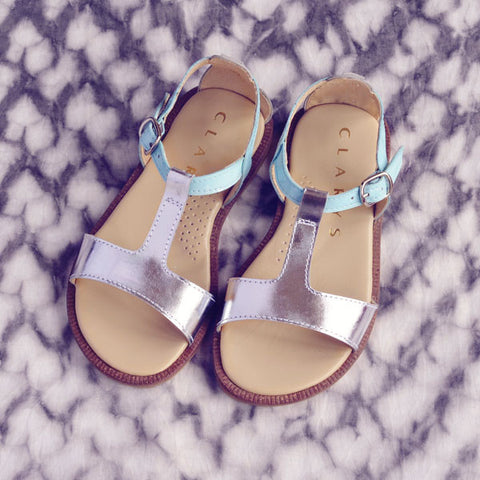 Clarys Girls Light Blue & Silver Sandal