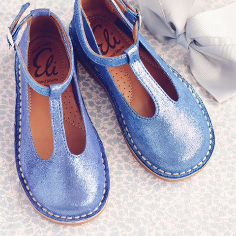 Eli1957 Girls Blue Shimmer T-Bar