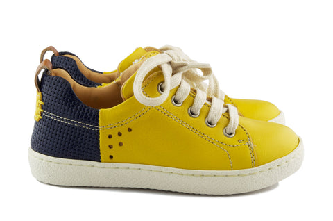 Ocra Boys Yellow and Navy Lace Up Trainer