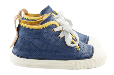 Ocra Boys Navy Trainer With Yellow Piping