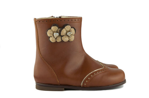 Beberlis Girls Brown Boot with Flowers