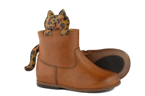 Zecchino d'Oro Girls Brown Boot with Cat
