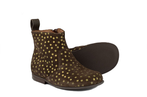 Pèpè Girls Brown Suede Boot with Gold Stars