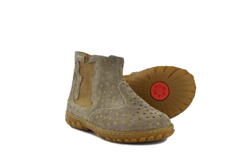 Pom d'Api Girls Beige Boot with Cat and Stars