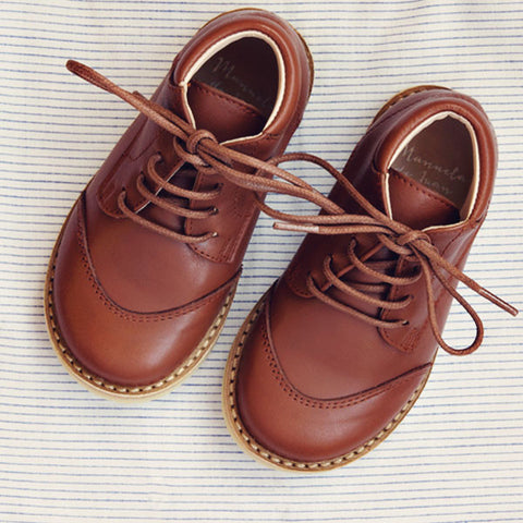 Manuela de Juan Boys Chocolate Lace-up Boot