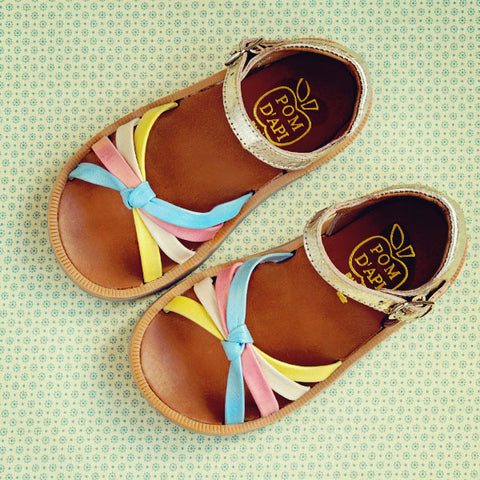 Pom d'Api Girls Gold Sandal with Colourful Straps