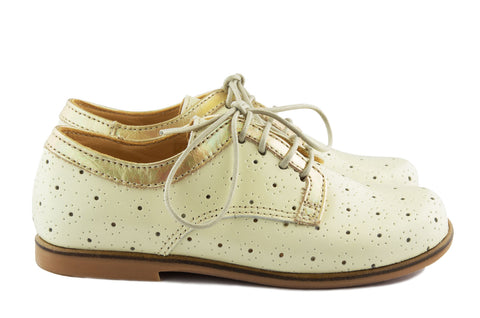 Ocra Girls Cream and Gold Derby