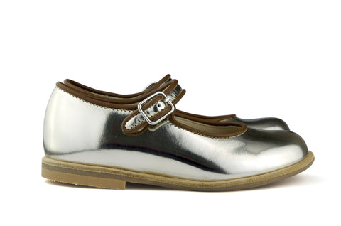 Manuela de Juan Girls Metallic Silver Mary Jane with Brown Piping
