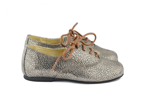 Manuela de Juan Girls Grey Suede Derby with Metallic Bronze Leopard Print