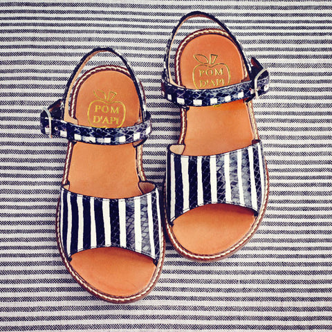 Pom d'Api Girls Black and White Stripe Sandal