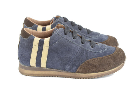 Pèpè Boys Navy & Brown Suede Trainer