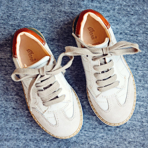 Ocra Boys White Brogue Trainer