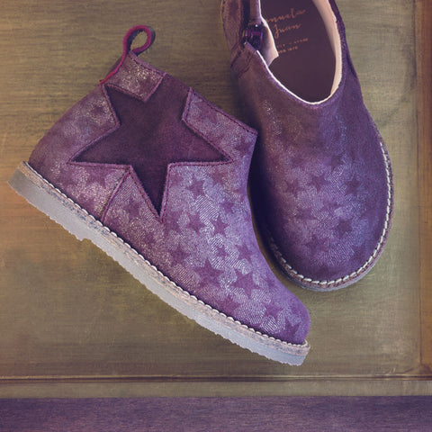 Manuela de Juan Girls Soft Shimmer Plum Boot with Stars