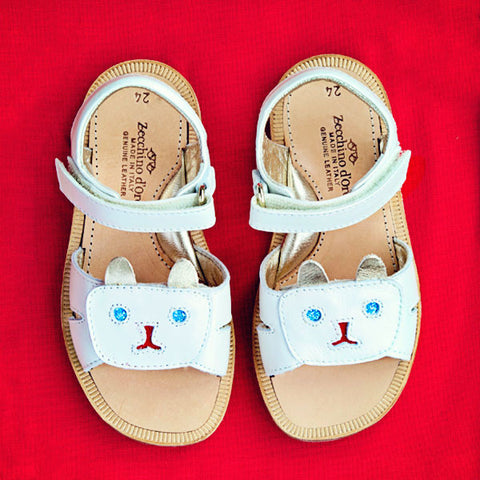 Zecchino Girls White Sandal With Cat