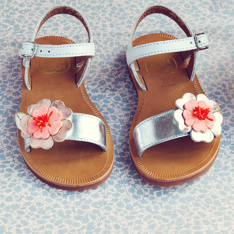 Pom d'Api Girls White Flower Sandal