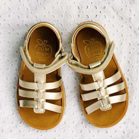 Pom d'Api Little Girls Gold Sandal