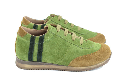 Pèpè Boys Green & Brown Suede Trainer