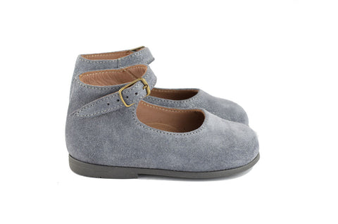 Pèpè Girls Grey Shimmering Suede Mary Jane