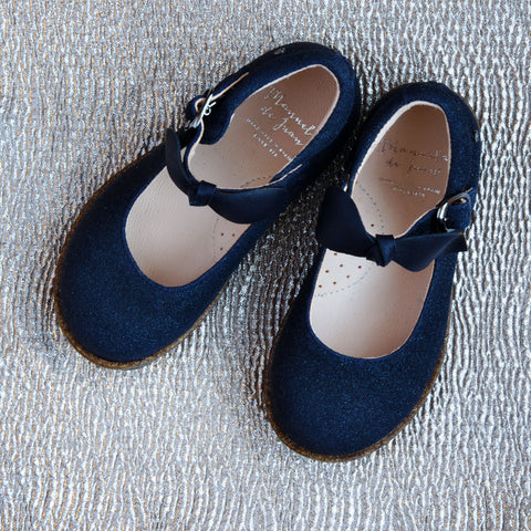 Manuela de Juan Girls Soft Shimmer Navy Mary Jane